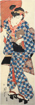 Keisai Eisen Young Woman Walking Under Umbrella
