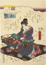 Utagawa Kunisada (Toyokuni III) Aoi, from an untitled series of Genji pictures