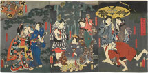 Utagawa Kunisada (Toyokuni III) Taking Shelter from the Rain in a Sudden Shower