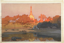 Hiroshi Yoshida Golden Pagoda in Rangoon, <br>from the India and South East Asia series