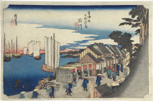 Utagawa Hiroshige Shinagawa, Departure of the Daimyo (2nd state)