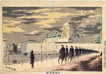 Kobayashi Kiyochika Fine Weather after Snowfall at the Old Inner Keep of Edo Castle