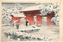 Kasamatsu Shiro Hongo Red Gate in Snow