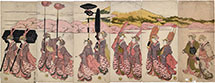 Utagawa Toyohiro Beauties Imitating a Daimyo Procession with Mount Fuji