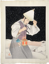 Paul Jacoulet Snowy Night with Surimono (2 prints)