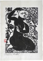 Shiko Munakata Goddess with Falcon and Camellias