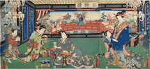Utagawa Kunisada (Toyokuni III) Illustration of Uncommon Guests at the Gankiro