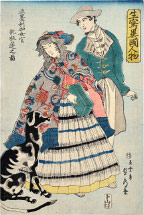 Utagawa Sadahide American Woman Playing a Concertina
