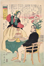 Utagawa Yoshikazu Russian Couple at the Table