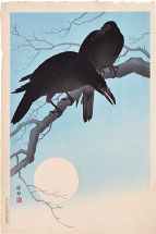 Ohara Koson Crows in Moonlight