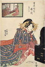 Utagawa Kunisada (Toyokuni III) The Hour of the Rooster, Sixth Hour of Twilight