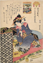 Utagawa Kunisada (Toyokuni III) Tayu Courtesan Suminoe of the Western House Ogiya