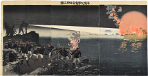 Kobayashi Kiyochika Using an Electric Searchlight in the Attack on Pye…
