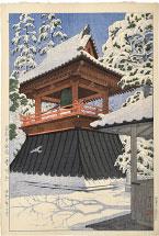 Kasamatsu Shiro Gokokuji Temple Bellfry, Clear Weather After Snowfall