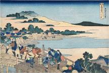 Katsushika Hokusai Fukui Bridge in Echizen Province