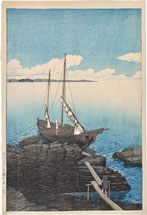 Kawase Hasui A Boat Laden with Stones, Boshu