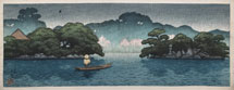 Kawase Hasui Small Boat in Spring Shower