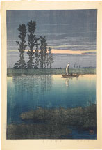 Kawase Hasui Evening at Ushibori