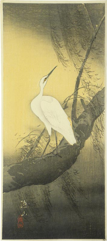 Ito Sozan White Egret on Willow Tree in a Storm