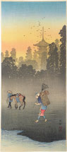 Takahashi Hiroaki (Shotei) Evening Bell in the Village