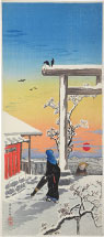 Takahashi Hiroaki (Shotei) Yushima Tenjin Shrine in the Snow
