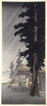 Takahashi Hiroaki (Shotei) Evening Shower at Takaido