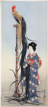 Ishii Tsuruzo Beauty with Onagadori (long-tailed chicken) on stand