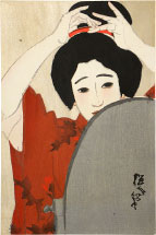 Kitano Tsunetomi no. 4, Shinchi in Winter, Before the Mirror
