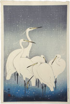 Ohara Koson Group of Egrets