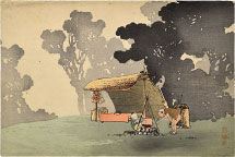 Uehara Konen Travelers at a Camp Fire