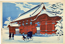 Takahashi Hiroaki (Shotei) Red-Lacquered Gate at Hongo in Clear Weather After Snow