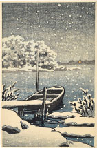 Kawase Hasui Moored Boat in Snow
