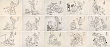 Katsushika Hokusai Group of 15 Drawings related to pages in ehon 'Chi…