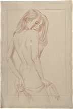 Paul Binnie Alluring Figure Preparatory Drawing (with border)