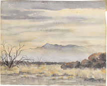 Kakunen Tsuruoka untitled (golden hazy landscape with mesquite at l…