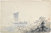 Kakunen Tsuruoka sailboat and blossoming trees