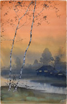 Kakunen Tsuruoka Misty Landscape with Birch Trees Beside Stream and Glowing Orange Sky