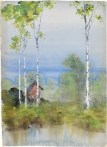 Kakunen Tsuruoka Misty Landscape with Birch Trees and Raised Red Hut