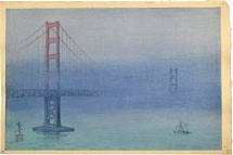 Kakunen Tsuruoka Golden Gate Bridge in Fog (pale blue palette variant test print)