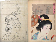 Yoshu Chikanobu Preparatory Drawing with Print of 'Mirror of the A…