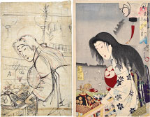 Yoshu Chikanobu Preparatory Drawing with Print of 'Annual Events a…