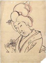 Yoshu Chikanobu Cherry Blossom- Preparatory Drawing for unpublishe…