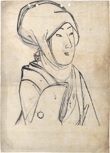 Yoshu Chikanobu Head Scarf- Preparatory Drawing for unpublished de…