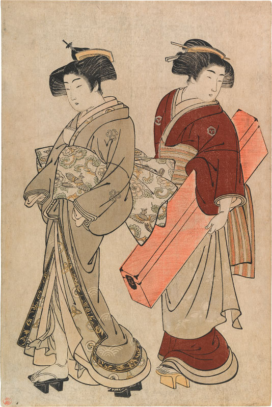 Kitao Shigemasa Geisha and Maid Carrying a Shamisen Box
