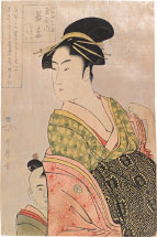 Kitagawa Utamaro Wakaume of the Tamaya in Edo-machi itchome, kamuro Mumeno and Iroka