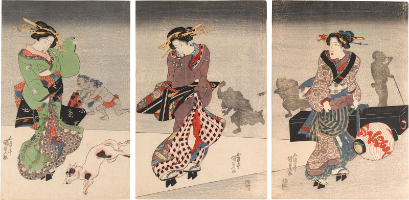 Utagawa Kunisada Two Beauties with a Maid Carrying Lantern and Shamisen
