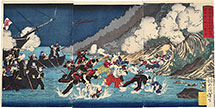 Tsukioka Yoshitoshi Illustration of the Navy Landing at Sukuchi Village