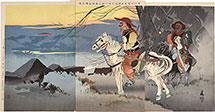 Taguchi Beisaku Bizarre-looking Manchurian Horsemen on an Expedition to Observe the Japanese Camp in the Distance Near Caohekou