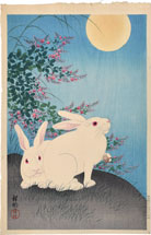 Ohara Koson Two White Rabbits with Flowering Bush Cover Under a Full Moon