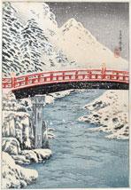 Takahashi Shotei (Hiroaki) Sacred Bridge, Nikko in Snow
